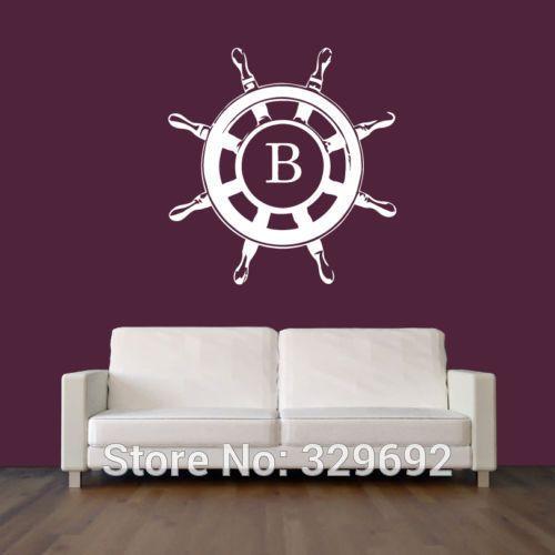 Купить товарУолл винил наклейка пропуск Wheel Nautical Salior спальня якорные дети декор стикеров стены домой размер 56 x 56 см в категории Наклейки на стенуна AliExpress.