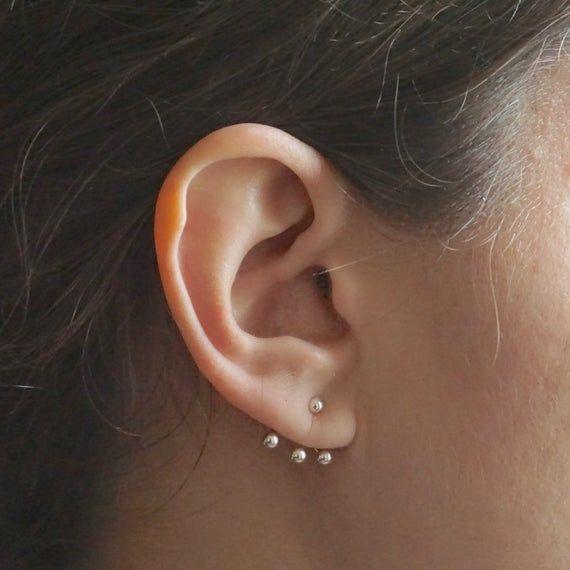 Simple Earring Sterling Silver 3mm Ball Stud with Circle Jacket Mini Stud Ear Jacket Silver Ear Jacket Earring