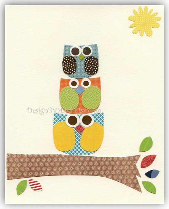 Baby boy nursery decor Nursery wall art print Owls by DesignByMaya, $17.00