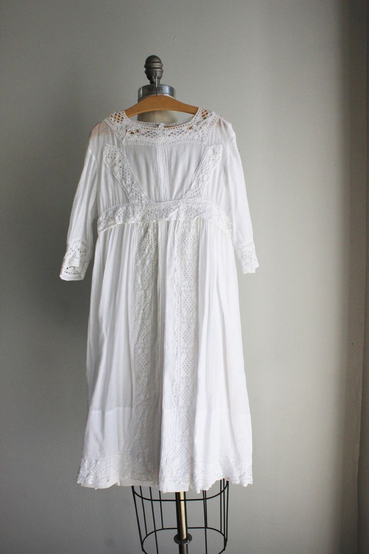 Vintage Edwardian Girls White Lawn Dress, Empire Waist, Crochet Lace Trim