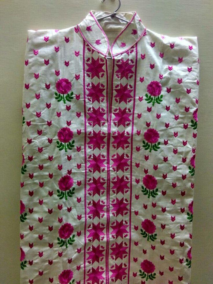 Cotton phulkari and flower design kurta on cotton base... Available for 800
