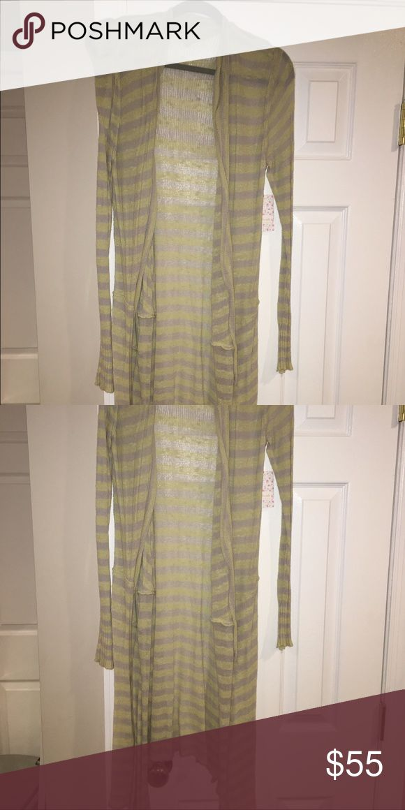 NWT Free People long cardigan sweater Free People cardigan sweater with tags. Very long. Thin material, so great for spring and summer. Size small. yellow and gray striped. Free People Sweaters Cardigans