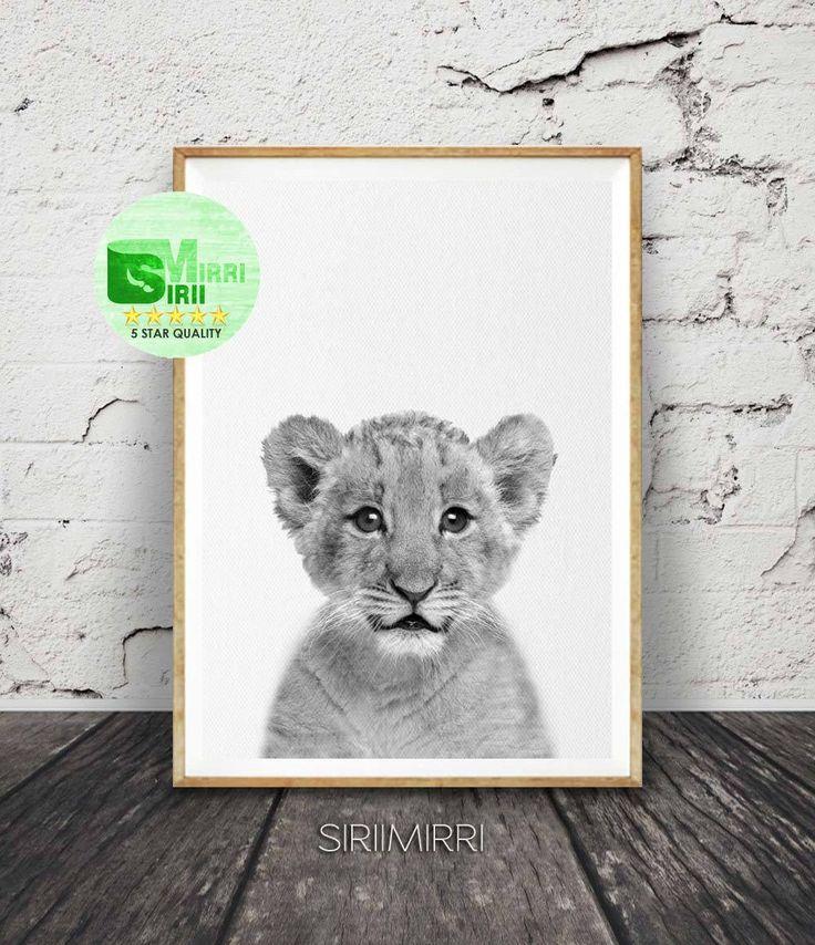 Lion cub print safari nursery lion cub photo black white animal prints modern minimalist cute photography printable instant download
