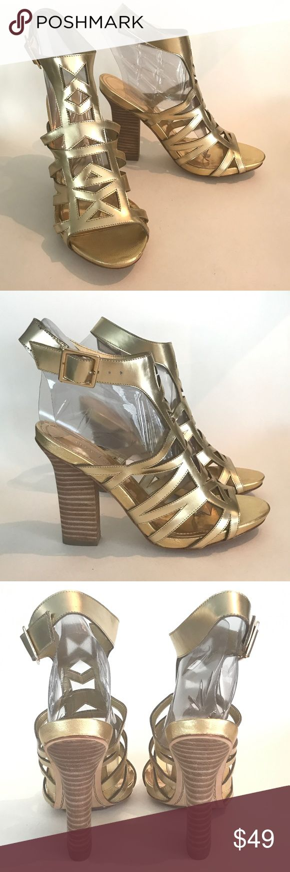 New Vince Camuto V Gold Sandals Heels 6.5 M New Vince Camuto V Gold Sandals Heels Strappy Size 6.5 M New without box! See Photos!        S10 Vince Camuto Shoes Heels
