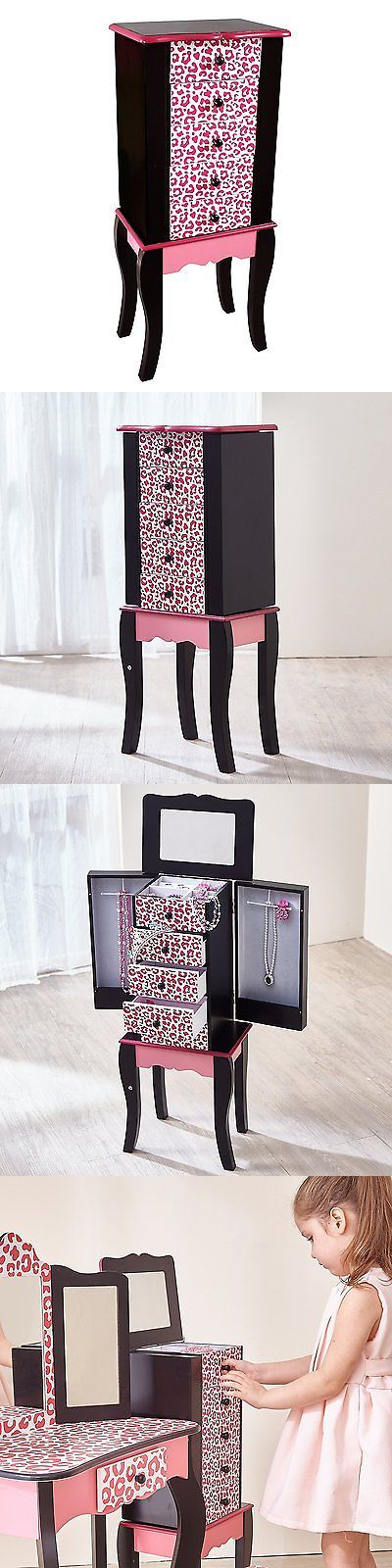 Kids Furniture: Teamson Kids Leopard Fashion Prints Jewelry Armoire, Pink/Black BUY IT NOW ONLY: $88.58