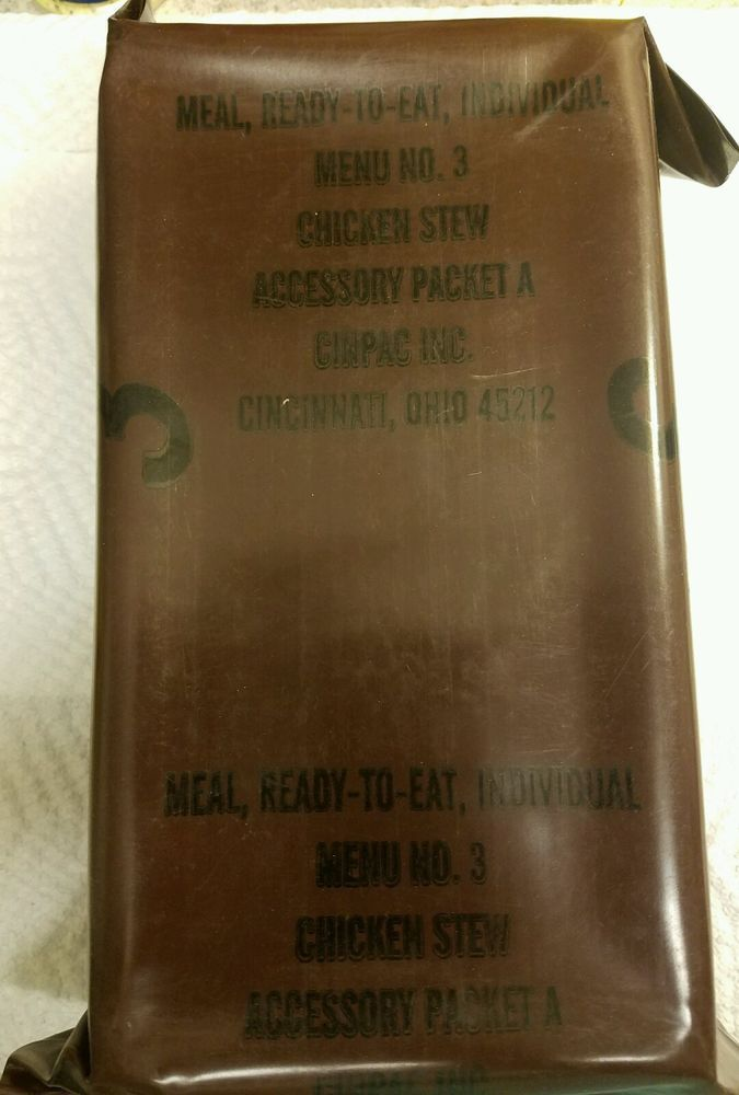 Vintage MRE Menu 3 Chicken Stew US Military Ration Meal Ready To Eat