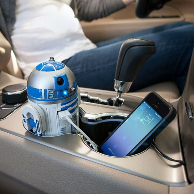The R2D2 car charger has two USB ports and even acts just like R2D2 (it lights up and the head rotates).