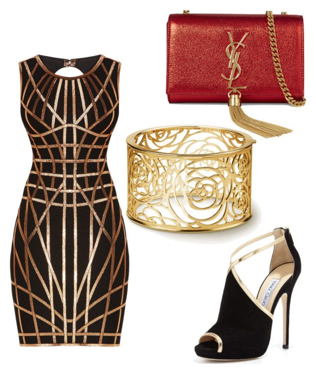 """Art Deco Luxe"" by brittanynorma on Polyvore featuring Hervé Léger, Jimmy Choo and Yves Saint Laurent"