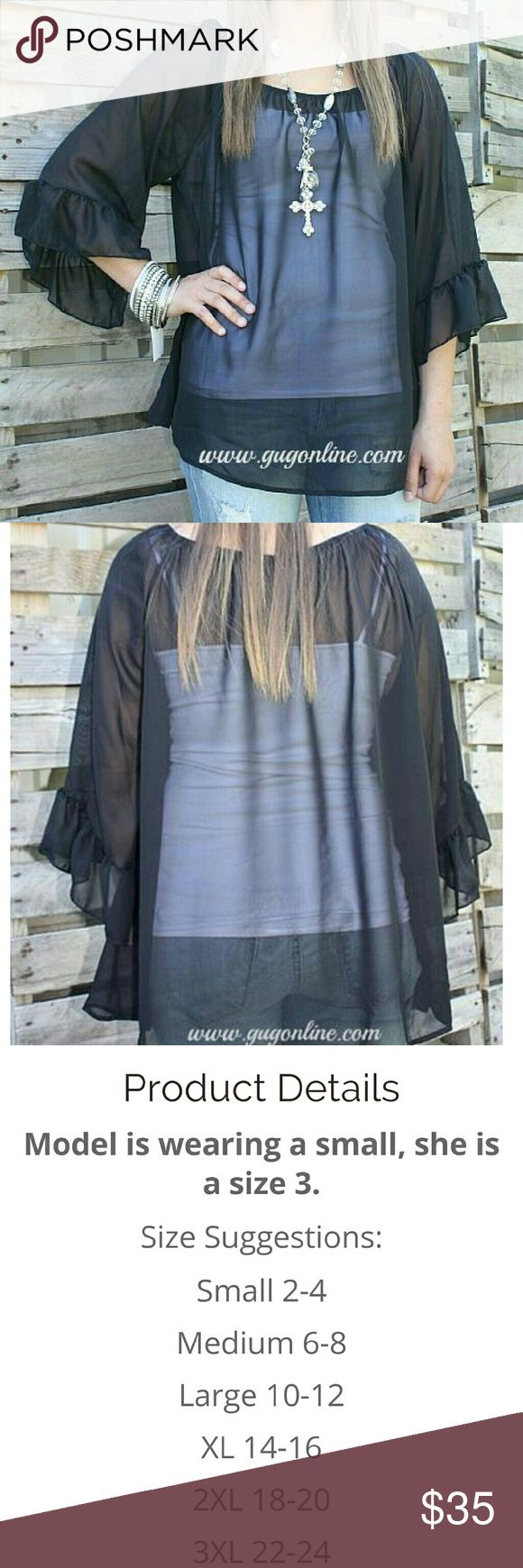 Giddy up glamour feeling the breeze top Feeling the breeze giddy up glamour sheer black top worn once size 3x (22/24) giddy up glamour  Tops Blouses