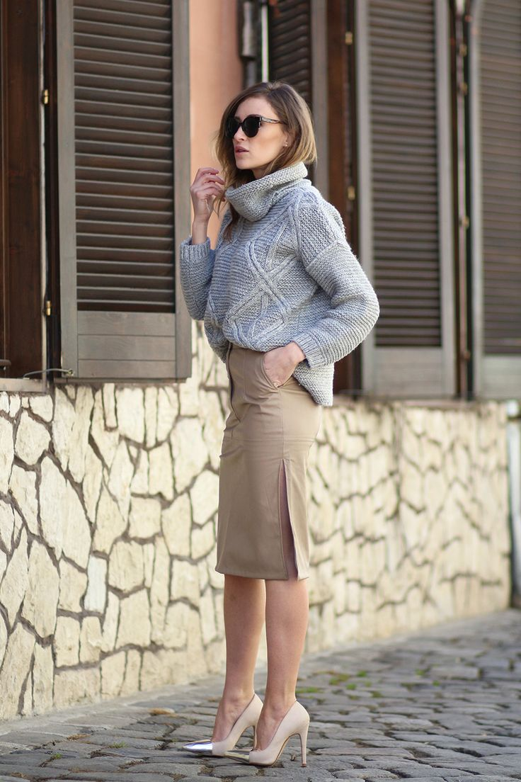 skirt with knitted turtleneck