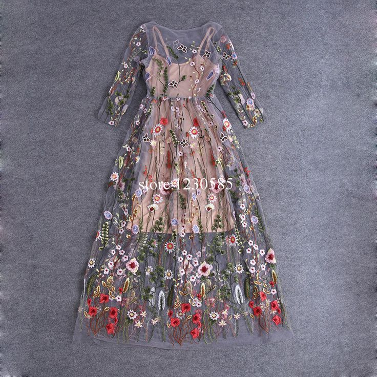 Gender: Women Sleeve Length: Three Quarter Silhouette: A-Line Dresses Length: Ankle-Length Season: Summer Material: Lanon,Cotton Decoration: Embroidery