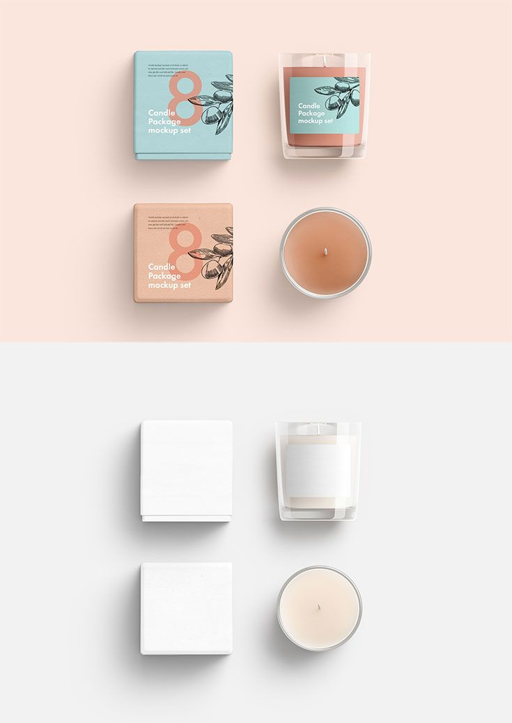 Free Candles Package Mockup Set Candle Packaging Design Mockup Free Packaging Mockup