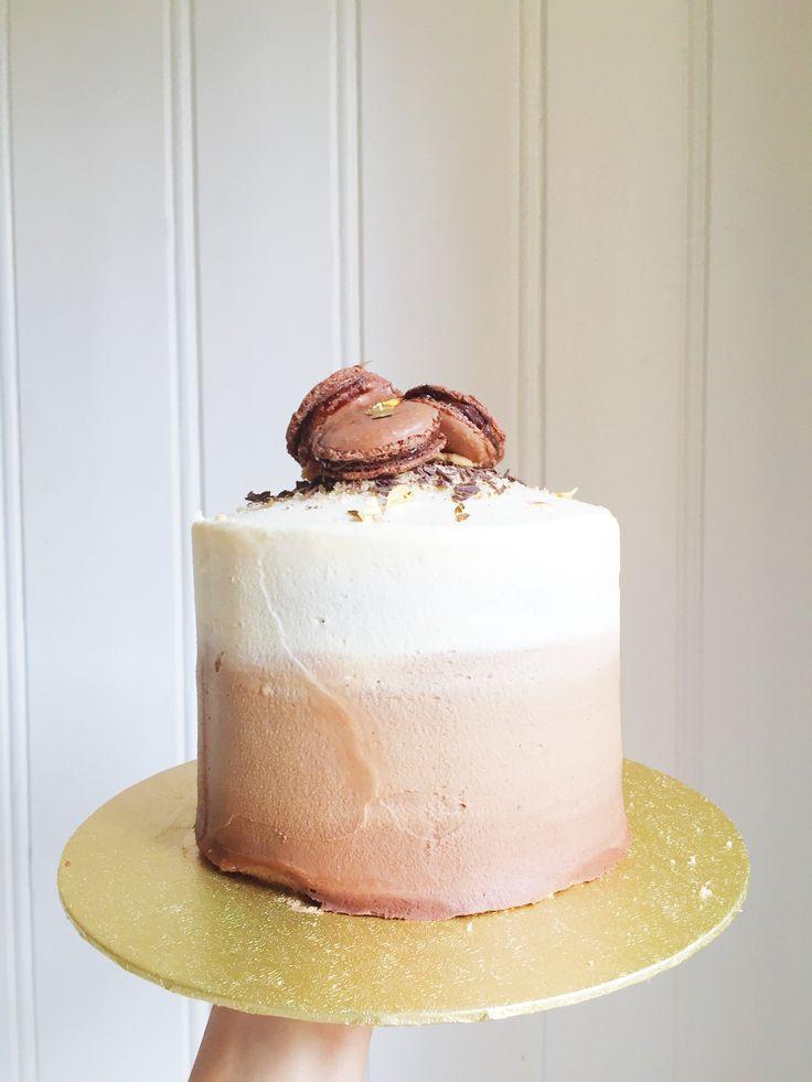 Chocolate & Macaroon Ombre Cake  Made by Cake Me! Oslo www.facebook.com/cakemeoslo