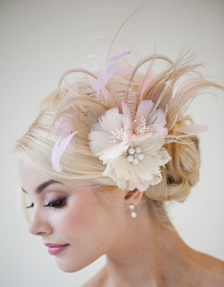Bridal Fascinator, Fascinator, Ivory, Gold, Pink, Bridal Head PIece, Feather Head Piece, Feather Hairclip, Feather Flowers - CONSTANCE. $129.00, via Etsy.