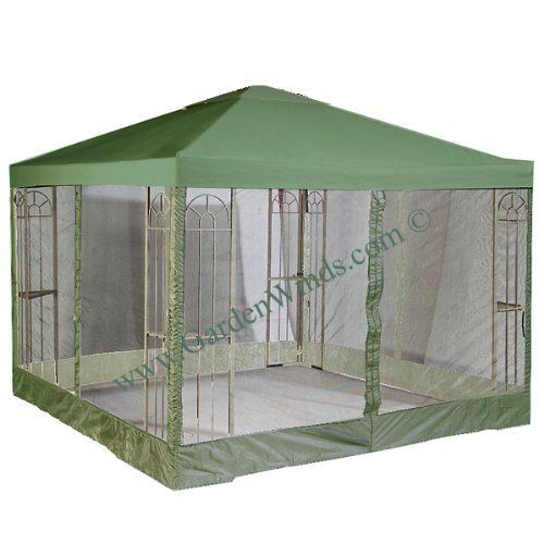 Garden Winds 10' x 10' Single Tiered Replacement Gazebo Canopy and Netting Set - GREEN  REPLACEMENT CANOPY AND SIDE MOSQUITO NETTING SET ONLY.  SOLID PRIVACY CURTAINS NOT INCLUDED.  METAL STRUCTURE NOT INCLUDED. Industry leading 350-Denier fabric (on average 25% thicker than original canopies). Do not settle for a lesser grade inferior universal canopy that may be $5 or even $10...