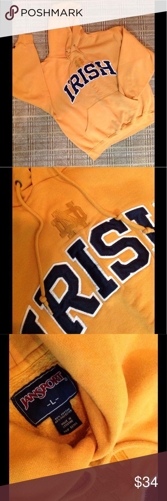 ND IRISH Gold Hoodie.  Unisex Large Gold IRISH hoodie. 55% cotton 45% polyester. Unisex Large Jansport Tops Sweatshirts & Hoodies
