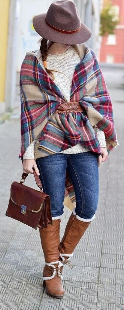 tartan belted blanket scarf