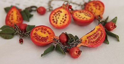 Jewelry Set Bracelet & Earrings / Pomegranate / Handmade / Polymer clay
