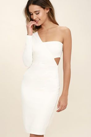 Nothing gets the party going like the One Night White One Shoulder Bodycon Dress! Stretchy, medium-weight knit sweeps from a one shoulder long sleeve into a fitted bodice with a sexy side cutout. A bodycon skirt hugs your curves down to a leg-baring length. Hidden side zipper.