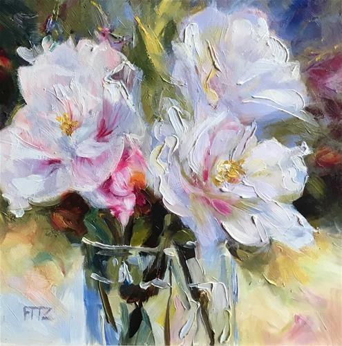 """Daily Paintworks - """"Glass of Rose of Sharon"""" - Original Fine Art for Sale - © Charlotte Fitzgerald"""