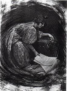 Robert Demachy, La Femme au porte-dessins ou Composition tournante, 1905