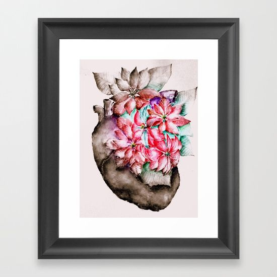 Christmas in my Heart - focal black and white variantion Framed Art Print