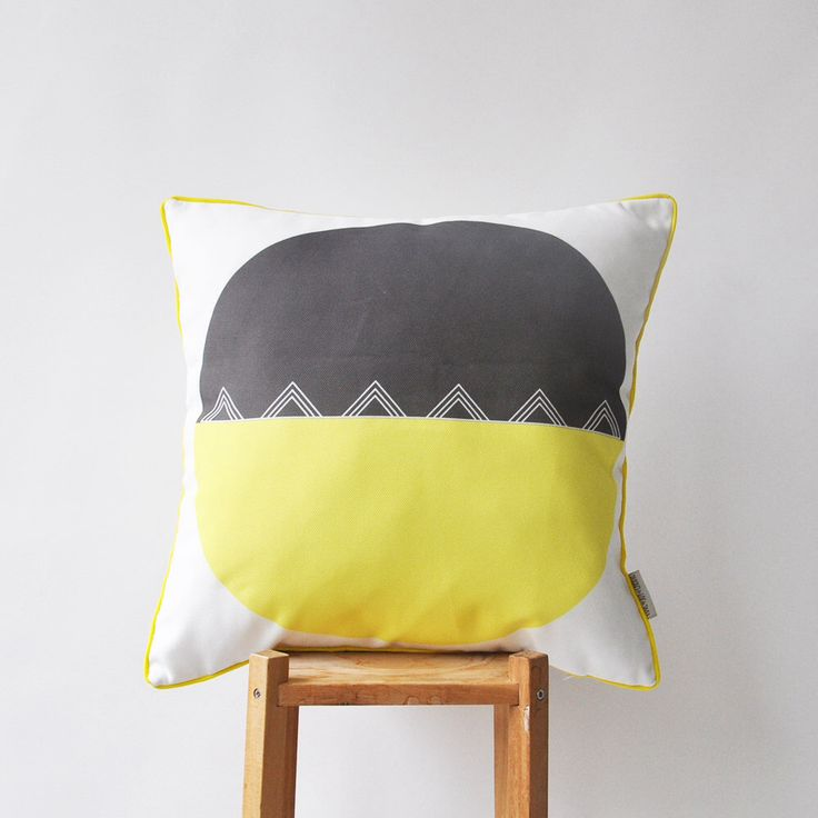 """Geometric Decorative Pillow, Modern Throw Pillow, Kids Pillows, Nursery Pillow, Yellow and Gray 16"""" x 16"""" by LoveJoyCreate on Etsy https://www.etsy.com/listing/204018952/geometric-decorative-pillow-modern-throw"""