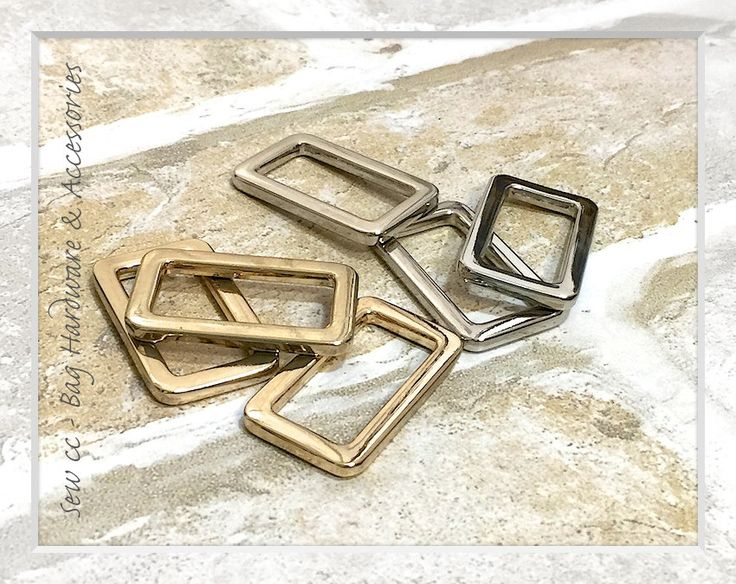 """25mm / 1"""" Rectangle Rings / Gold or Silver /  (PACK OF 2) - Sew cc bag hardware & accessories by Sewccbaghardware on Etsy"""