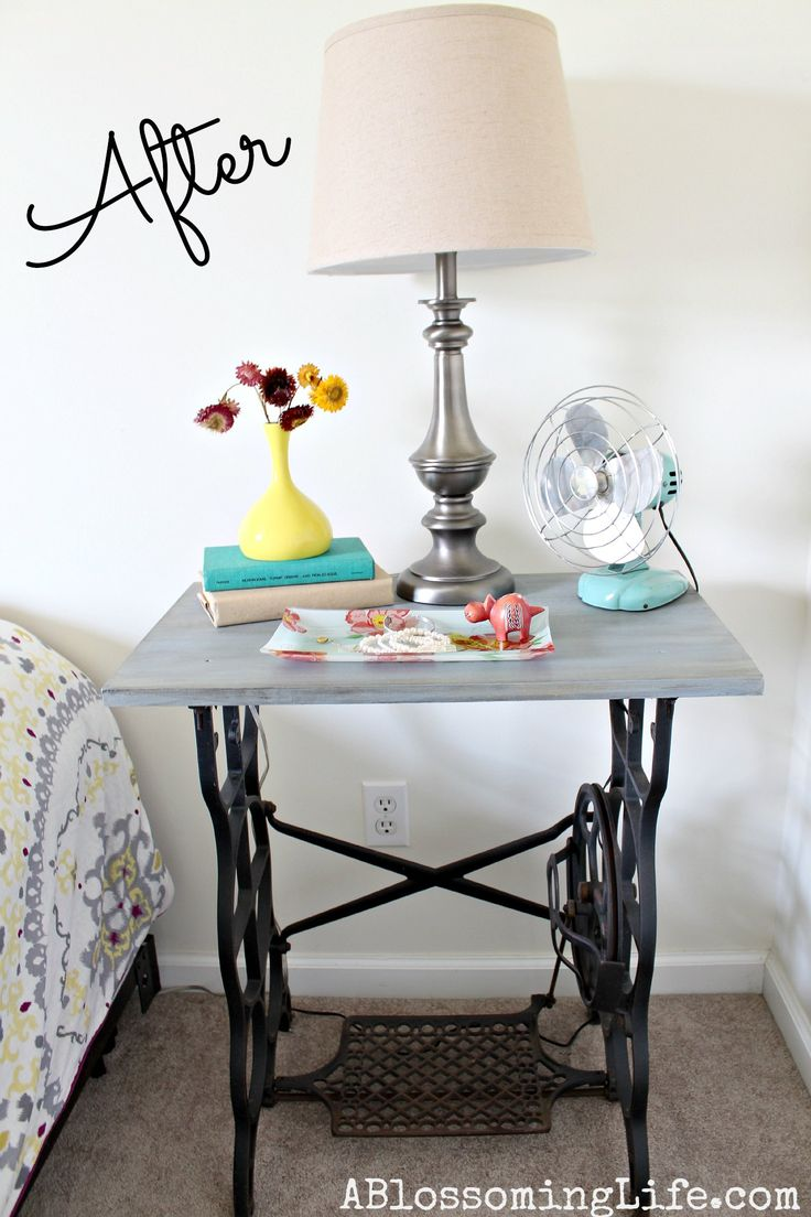 DIY Old Sewing Machine Redo to Nightstand! i have a very similar table that would look great in this color!