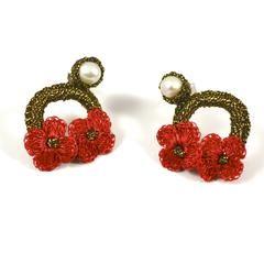 Hand Crocheted Flower Earrings - Red