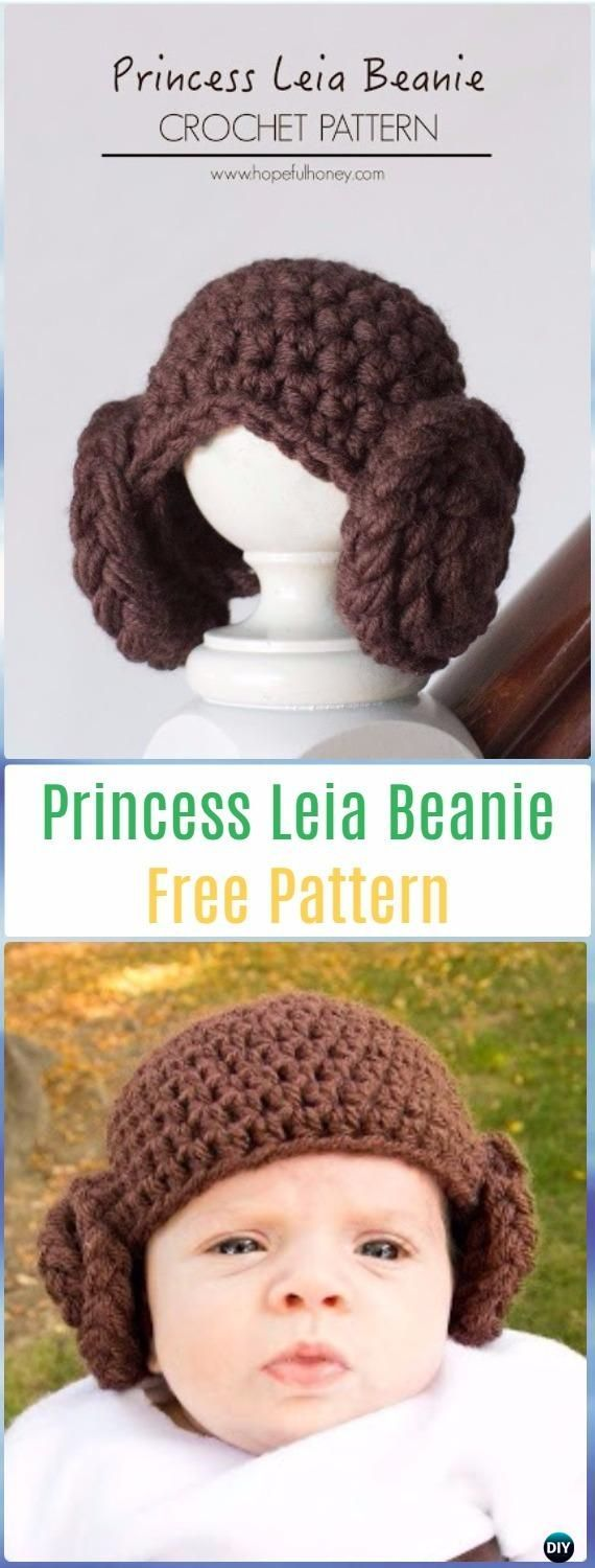 Crochet Princess Leia Beanie Hat Free Pattern - Crochet Halloween Hat Free Patterns