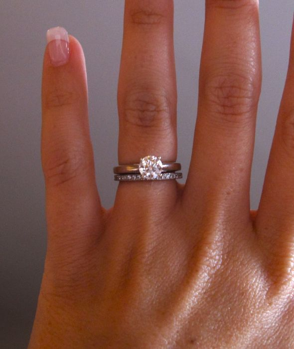Love the thin wedding band so the focus is still on the engagement ring