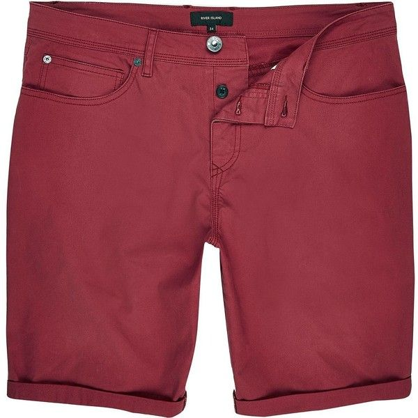 River Island Red slim fit shorts (2940 RSD) ❤ liked on Polyvore featuring men's fashion, men's clothing, men's shorts, shorts, red, mens slim fit shorts, mens red shorts, mens cotton shorts and slim fit mens clothing
