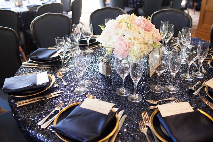 Navy blue sequins, blush and ivory wedding decor. // LVL Weddings and Events
