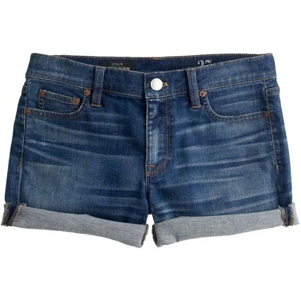 J.Crew Denim Short ($105) ❤ liked on Polyvore featuring shorts, bottoms, pants, denim, j.crew, j. crew shorts, denim short shorts, cuffed denim shorts and jean shorts