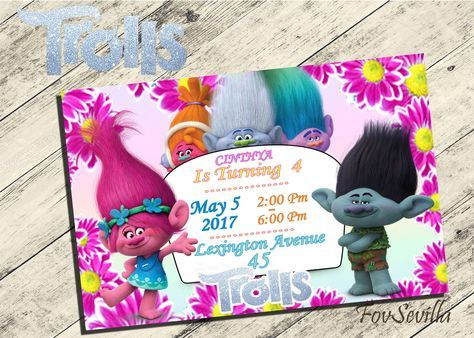 trolls invitationtrolls birthday invitationtrolls birthday