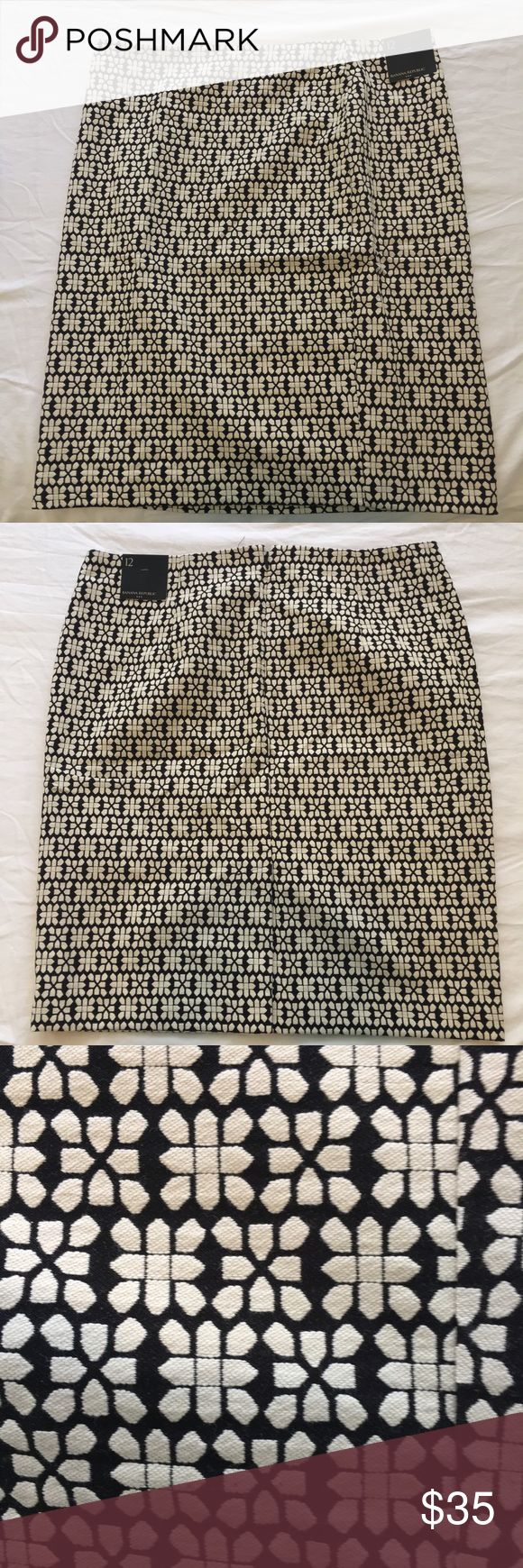 NEW! Banana Republic blk/ivory Pencil Skirt Banana Republic Factory Pencil Skirt with a cool geometric print DETAILS:  Size: 12  Fit:  Pencil Color: Ivory (off white) & black  Material:  Cotton & acrylic (see picture), invisible zipper  Condition: New, never worn  NOTE - everything in my closet is 100% authentic.  Open to offers. I always respond with my best and final. Please feel free to ask questions.  All sales are final. Banana Republic Skirts Pencil