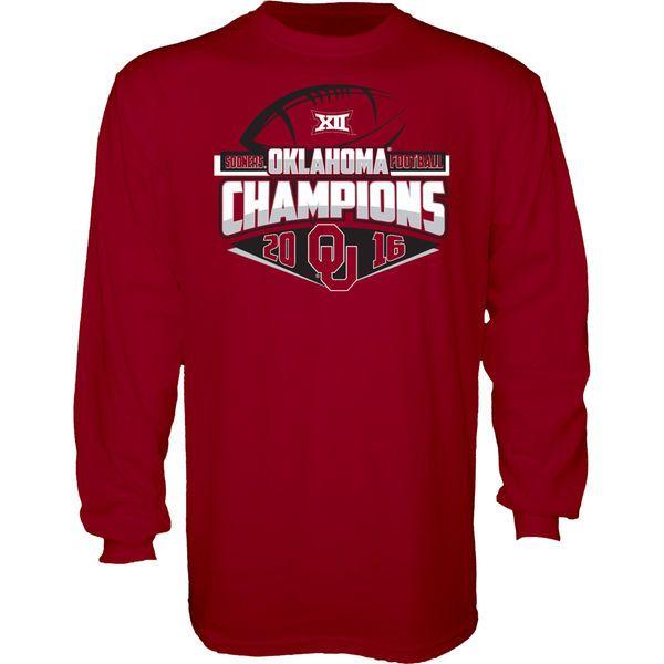 Oklahoma Sooners Blue 84 2016 Big 12 Football Champions Locker Room Long Sleeve T-Shirt - Crimson - $12.99