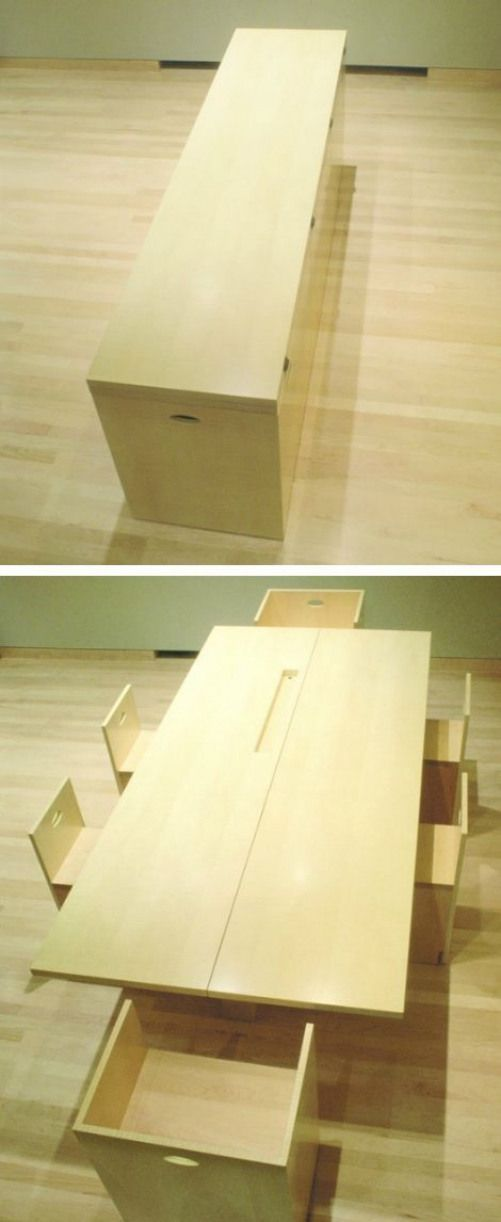 Space Saving The Kitchen Island Is A Cube That Opens Up To Reveal Hidden Chairs And The Dining Ro Space Saving Dining Table Wood Dining Room Bar Dining Table