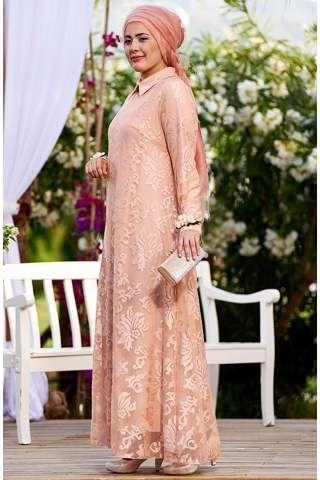 Nesrin Emniyetli Dantel Çiçek Aksesuarlı Elbise 2160087 Somon