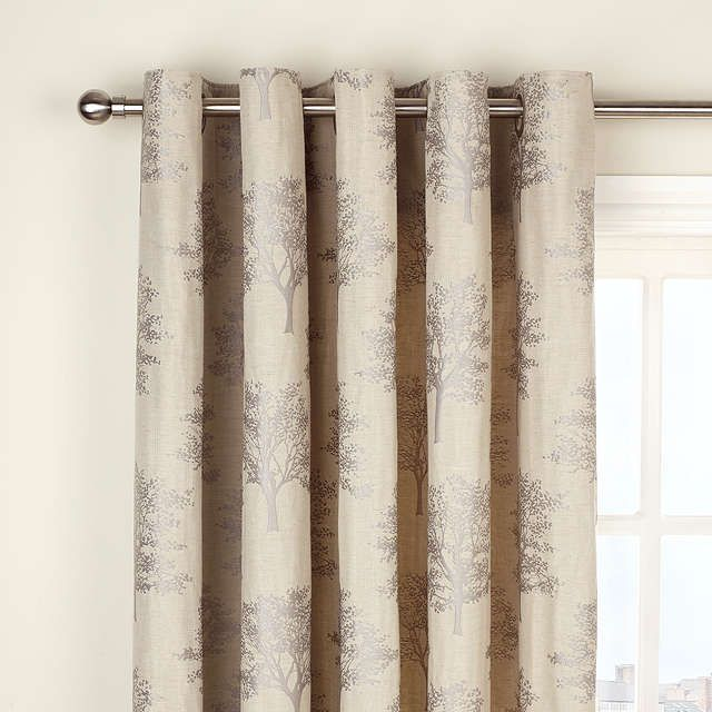 BuyJohn Lewis Oakley Trees Eyelet Lined Curtains, Natural, Pair, W228 x Drop 182cm Online at johnlewis.com