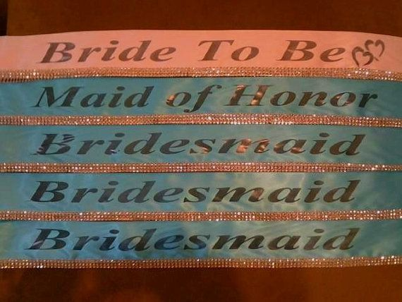 Set of 4 , Pageant sashes, bridal party packages, bridal party favors , custom pageant sashes you choose colors
