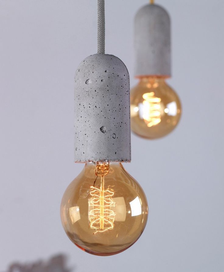 concrete filament, with clear globe and filament in  rose gold