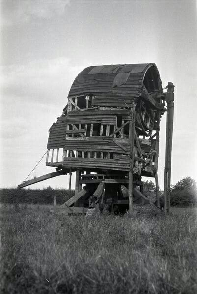 Bledlow Ridge post mill, Buckinghamshire. Demolished 1933. This was one of several post mills in the area with a trestle of three cross trees (horizontal timbers) and six quarter bars (diagonal supports) for the main post rather than the usual two and four. A similar mill at Chinnor, just over the border in Oxfordshire, has been restored. Moreton mill in Essex, demolished in 1964 was another.