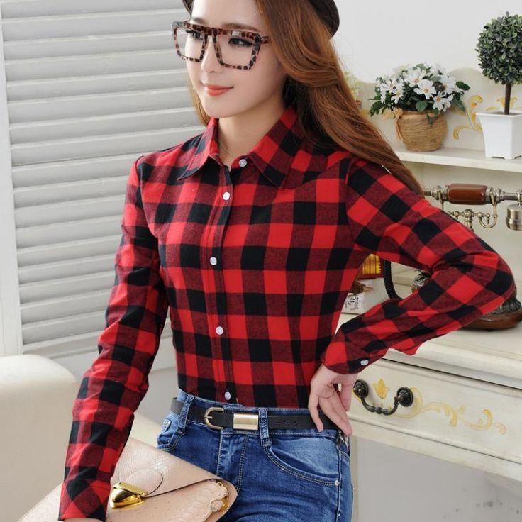2016 Spring New Fashion Casual Lapel Plus Size Blouses women plaid shirt Checks Flannel Shirts Female Long Sleeve Tops Blouse