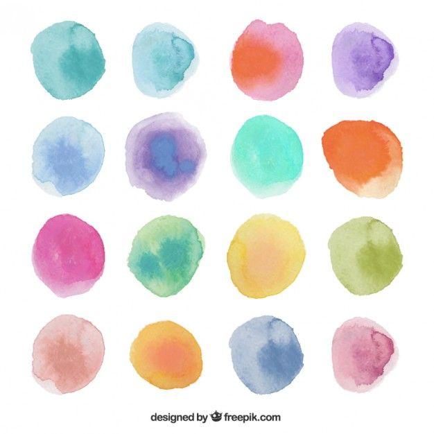 滲んだ水彩絵の具で描いた丸のベクターセット