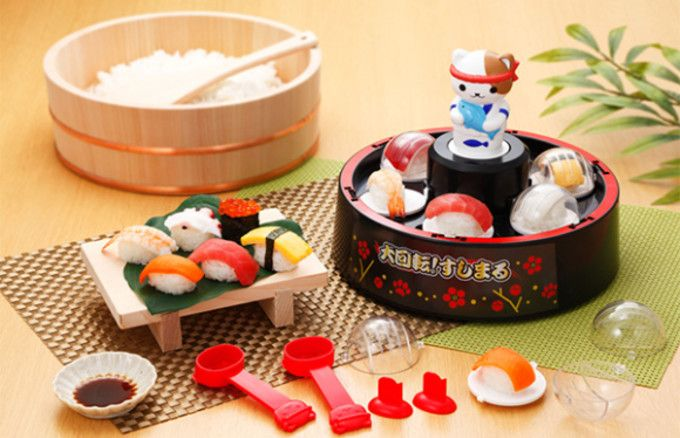 Revolving sushi restaurants, called kaitenzushi in Japanese, are one of Japan's favorite choices for a quick, affordable meal out. But cooking toy manufacturer Mega House is about to bring a different kind of revolving sushi to your home.