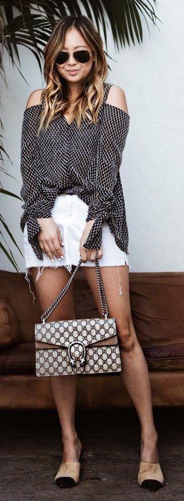 #winter #fashion /  Off Shoulder Striped Shirt + White Denim Skirt