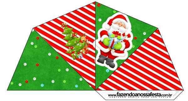 Cone Guloseimas 4 lados Natal Vermelho e Verde