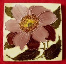 Antique Majolica Art Nouveau Pink Flower / Floral Tile Lea & Boulton